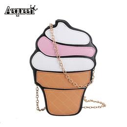 Wholesale Small Cupcake - Wholesale-Cute Women Cupcake Ice Cream Shape Crossbody Bags New Cartoon Fashion Chain PU Leather Ladies Small Mini Shoulder Bag Feminine