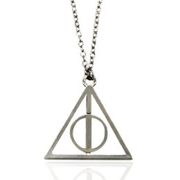 Wholesale Deathly Hallows Pendant Necklace - Deathly Hallows Pendant Necklace Long Chain Retro Triangle Necklaces Rotatable Resurrection Stone Unisex Luna Harry Potter Necklace