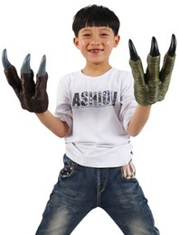 Wholesale Rex Gloves - Jurassic Dinosaurs Gloves of The World's Children Toys Tyrannosaurus Rex Doll Hand Puppets Simulation Soft Glue Claws Retail Packaging