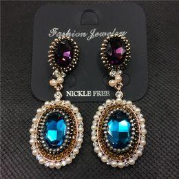 Wholesale Vintage Blue Drop Earrings - Fashion Jewelry Luxury Rhinestone Water Drop Charm Elegant Vintage Gold Blue Crystal Statement Earrings For Women DE2074