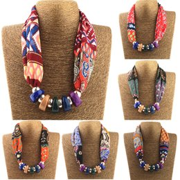 Wholesale Chiffon Scarf Necklace - Wholesale- Women Printed Silk Scarves Necklace resin beads Neckerchief Chiffon Scarves Ring Silk Muffler Six Color