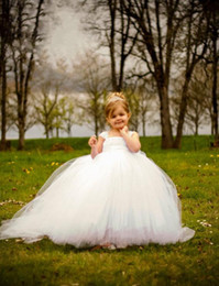 Wholesale Cheap Tutus For Little Girls - White Ball Gown Cheap Flower Girl's Dresses For wedding Little Kids Floor Length Cute Little girls Tutu pageant Gowns for Communion Dress