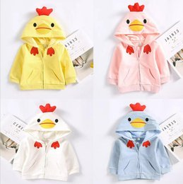 Wholesale Long Sleeve Unisex Cardigans - Ins New girl boy kids Long Sleeve Chicken hooded cardigan coat 100% cotton girl spring fall casual Outwear kids cute coat free shipping