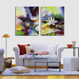 Deutschland Freies schiff 2 Panel Moderne Lotus Blume Leinwand Malerei Bild Abstrakt Gedruckt wohnzimmer Wandaufkleber Kein Rahmen Versorgung
