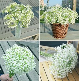 Wholesale Sell Wedding Bouquets - hot sell Pretty Unique Artificial Baby's Breath Gypsophila Silk Flower For Party Wedding Home Decoration