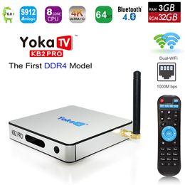 Wholesale 3d Hd Media Player - 3GB DDR4 32GB YOKA KB2 PRO Android 7.1 Octa Core Smart TV Box Amlogic S912 Dual Band WiFi BT4.0 4K 3D 1000M LAN H.265 Media Player