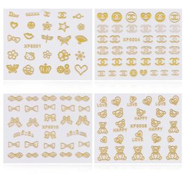Wholesale Nail Art Foil Sheets - 3d Gold Nail Art Stickers Decals 1 sheet Flowers Bowkbot Crown Star Design Metallic Adhesive Nail Foils Tips Decoration DIY Nail Supplies
