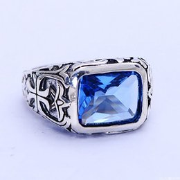 Wholesale Pure Stone Silver Ring - Real Pure 925 Sterling Silver Rings For Men Blue Natural Crystal Stone Mens Ring Vintage Hollow Engraved Flower Fine Jewelry