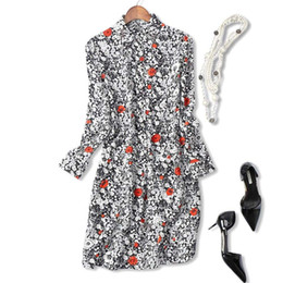 Wholesale Knee Length Romantic Floral - 2017 Summer Hot Style French Romantic Fairy Beautiful Small Floral Print Loose Slimming 100% Silk Shirt Dress Women A14