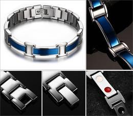 Wholesale Stainless Magnet - Negative Germanium Bracelets Blue Bangles Health Magnet Care Stainless Steel Bracelet Men For Friendship Gift Magnetic Jewelry B836S