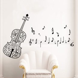 Wholesale Wall Decal Stickers Music - New Violin Music Notes Wall Stickers Tv Sofa Removable Wall Decals Home Decor Hall Room Post Classroom Removable Wall Decals
