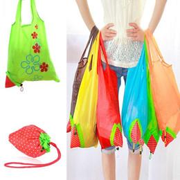 Wholesale Strawberry Reusable Tote - 200PCS Random Color Cute Strawberry Shopping Bags Foldable Tote Eco Reusable Storage Handbag Nylon