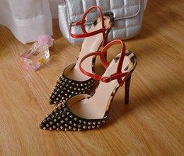 Wholesale Delicate Sandals - 2017 New Patent Leather Women Fashion Rivets Delicate Metal Buckle Elegant HIgh Heels Pointed Toe Shoes Sandals Pumps