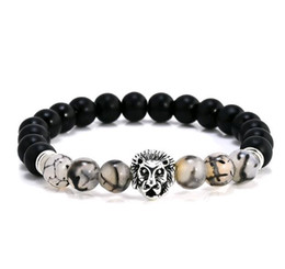 Wholesale Elastic Bead Rings - Hot Selling Black Stone Hand String Frosted Dragon Design Agage Lion Head Elastic Buddha Beads Bracelets
