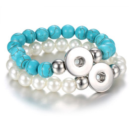 Wholesale White Pearl Bangles - NOOSA Imitate Turquoise Pearl Beads Bracelets Female 18mm Snap Bracelets Bangles For Women Snap Buttons Bracelet