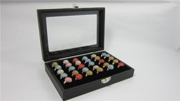 Wholesale Jewelry Box Glass Top - Glass Top 4 Black Velvet Ring Display Case Box Tray Showcase Jewelry Rings Earring Cufflinks Display Show Case Organizer Tray Storage Box
