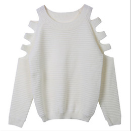 Wholesale Cut Out Knit Sweater - Wholesale-Fashion Casual Womens Cut Out Long Sleeve Jumper Pullover Tops Ladies Casual Knitwear Sweater