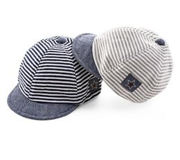 Wholesale Toddlers Girls Baseball Hat - Baby cotton baseball cap for toddler kids striped star pattern flat hats summer autumn infant boys girls hip hop snapback
