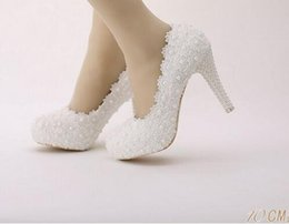 Wholesale Wedding Heels Flowers - white wedding pumps Sweet white flower lace platform high-heeled Dress Shoes pearl wedding shoes bride dress lace high heels 8cm10cm12cm