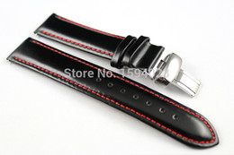 Wholesale Watch Leather Strap 19mm - Wholesale-19mm (Buckle18mm) PRC200 T067417A High Quality Silver Butterfly Buckle + Black Genuine Leather Red Line Watch Bands Strap