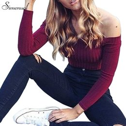 Wholesale Crops For Sale - Wholesale-Autumn new 2016 off shoulder crop top t shirts hot sale long sleeve solid short t-shirts for women clothing fashion slim t-shirt