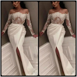 Wholesale Amazing Siding - Amazing Saudi Arabic Ivory Mermaid Evening Dresses Long Sleeves 2017 Boat Neck Dubai Kaftan Side Split Party Gowns Robe De Soire