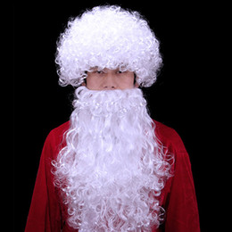 Wholesale Cloth Package - Santa Claus Chrismas Dresses Santa Wig And Beard Xmas Mustache Accessory Kit White For Kids Or Adults With Retail Package Drop Shipping