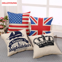 Wholesale Cover Crown - BZ064 Luxury Cushion Cover Pillow Case Home Textiles supplies Lumbar Pillow Flag and crown pillows chair seat