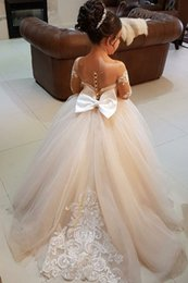 Wholesale Girls New Fashion Pictures - 2017 New Fashion Champage Lace Appliques Flower Girls' Dresses Long Sleeve See Through Back Formal First Communion Pageant Dresses For Girls