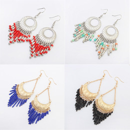 Wholesale Dangle Resin Flower - earrings for women 2017 New Fashion Colorful Resin Beads Gold Silver Plated Tassle Alloy Long Dangle Chandelier Earrings Wholesale ER734