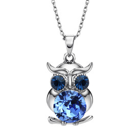 Wholesale Blue Owl Jewelry - Neoglory Blue Austrian Crystals Owl Maxi Boho Long Chokers Necklaces & Pendants for Women Mother Girl Gifts Fashion Jewelry