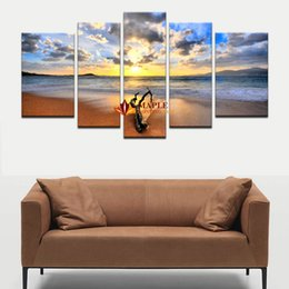 Wholesale View Landscape - Free Shipping 5 Pcs Hot Sell The Family Decorates Sunset Sea View Print On The Canvas Decoration Pieces For Living Room Canvas Picture