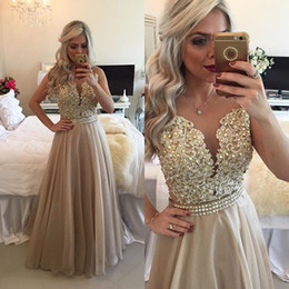Wholesale Gold Crystal Sash - VARBOO_ELSA Fashion Cap Sleeve O Neck Crystal Sash Beaded Gold Lace Long Prom Dresses 2017 A Line Women Elegant Evening Party Dress