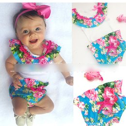 Wholesale Baby Romper Vest Suit - New Baby Romper sets Hot sale Baby Rompers Set Floral Doll vest Tops+ Flower pp Pants Suits Infant Toddlers Two piece Set A6736