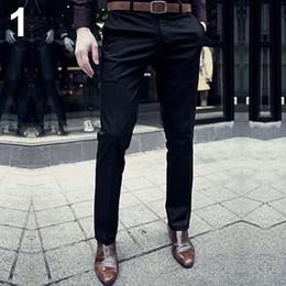 Wholesale Slim Fit Trousers Wholesale - Wholesale- Men's Fashion Casual Slim Fit Solid Color Flat Front Slacks Trousers Dress Pants