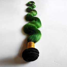 Wholesale New Star Hair Weave - Tone Ombre Weaves Peruvian Body Wave Human Hair Weft New Star T Color Hair Extensions 1B green 3 Bundles No Shedding No Tangle
