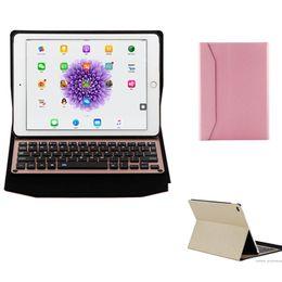 "Wholesale Ipad Aluminum Alloy Wireless Bluetooth - Bluetooth 3.0 Version Wireless Keyboard Leather Case for Ipad Pro 12.9"" Ultra Thin Aluminum Alloy Smart Cover Folding Folio Cases For iPad"