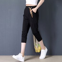 Wholesale Linen Cropped Pants - 2017 Fashion and Slim Summer Cropped Pants for Woman Elastic Waist Black Casual Comfortable Version