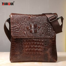Wholesale Vintage Leather Satchels For Men - Wholesale- First Layer Cow Skin 100% Genuine Leather Bag For Men Crocodile Style Men's Business Messenge Bag Tablet PC handbag