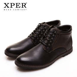 Wholesale Leather Warm Ups - XPER Brand Autumn Winter Men Shoes Boots Casual Fashion High-Cut Lace-up Warm Hombre #YM86901BU