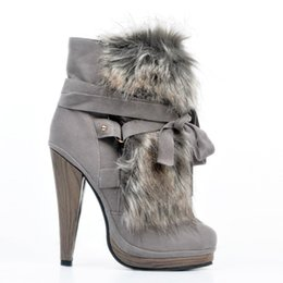 2019 schuhe high heels 13cm Zandina Womens Fashion Handmade 13cm High Heel Winter Stiefel Kreuz Band Party Prom Schuhe Grau XD123 rabatt schuhe high heels 13cm