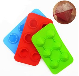 Wholesale Cool Soaps - Food Grade 6 Cavities Silicone Diamonds Cool Ice Cube Chocolate Soap Tray Mold Silicone Fodant Ice Cube Tray Mold Maker