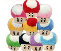 Wholesale Toy Mushrooms Kids - Bros Mushroom Plush Toy 10cm Super Mario Bros Mushroom Plush Toy Soft Plush Stuffed Doll for kids Christams