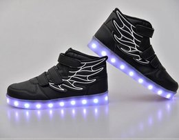 Wholesale Light Blue Ankle Boots - Wholesale Led light flashing wing shoes ankle boots with USB charge unisex fluorescent couple shoes running snakers sport casual shoes