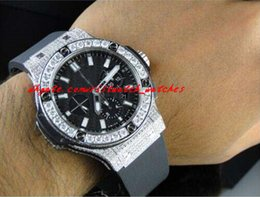 Wholesale Band Bang - New Arrival Luxury Mens Brand New Bang 44Mm Evolution Rubber Band Diamond Watch 10 Ct MAN WATCH Wristwatch