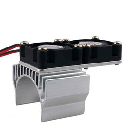 Wholesale Electric Motor For Fan - RC HSP Silver Alum Heat Sink DC5V Dual Fan Cooling For Models 540 Motor (3650)