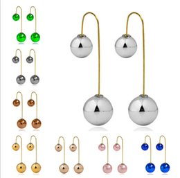 Wholesale Double Cc Jewelry - Double sided pearl earrings gold plated candy ball Stud Earrings statement fashion jewelry cc earings for women