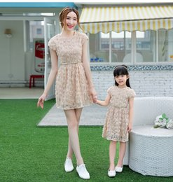Wholesale Short Beige Evening Dress - Free gift mother daughter matching dresses kids formal wedding guest dress gilrs women beige lace evening prom dress