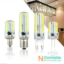Wholesale Dimmable Candle Corn - Led Light G9 G4 Led Bulb E11 E12 14 E17 G8 Dimmable Lamps 110V 220V Spotlight Bulbs 3014 SMD 64 152 Leds light Sillcone Body for chandeliers