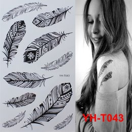 Wholesale Tattoos Wholesale India - Wholesale- Black feathers Painted body art sticker Bracelet tattoo black tattoo flash tattoos large fake India spends temporary tattoo